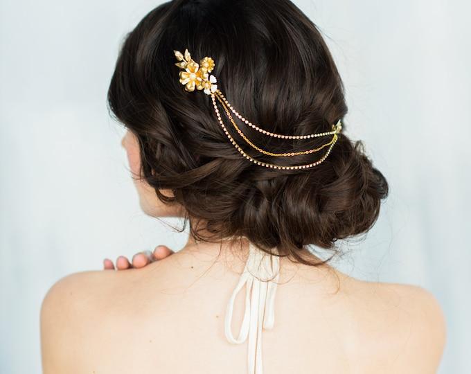 Brass Flower Hair Chain, Gold Headpiece, Blush Hair Chain, Mint Hair Comb, Peach Wedding Hair Piece, Grey Bridal Comb, White Leaf Comb ALICE