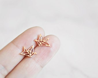 Origami Crane Stud Earrings, Origami Crane, Rose Gold, Silver, Origami, Bird, Gift For Her, Oorbellen, Surgical Steel, Titanium Earrings