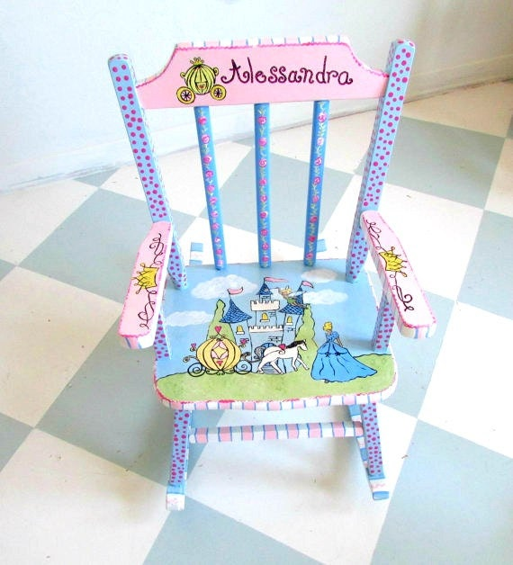Personalized Painted Child Rocking Chair Custom Kid By Mollieburd