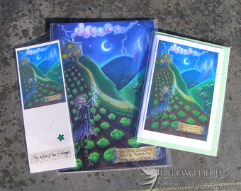 The Witch & Her Cabbages Notebook, Bookmark and Handmade Card Gift Set