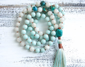 Amazonite Mala Beads 108, Turquoise Moonstone Mala Necklace, Boho Jewelry, Meditation Beads, Yoga Jewelry, Tassel Necklace