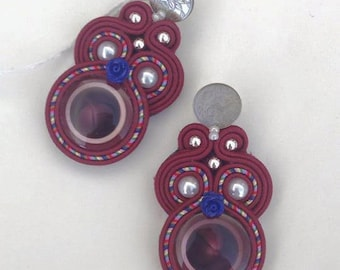 Pearl Stud Earrings Burgundy soutache by KIMA-unique piece free shipping