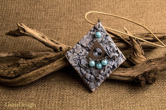 White Washed Birch Bark Boho Style Pendant with Metal Ornament and Beads