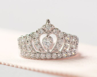 Princess Crown Ring - Sterling Silver Tiara Ring - Princess Tiara Ring - Bridal Ring - Crown Engagement Ring - A14