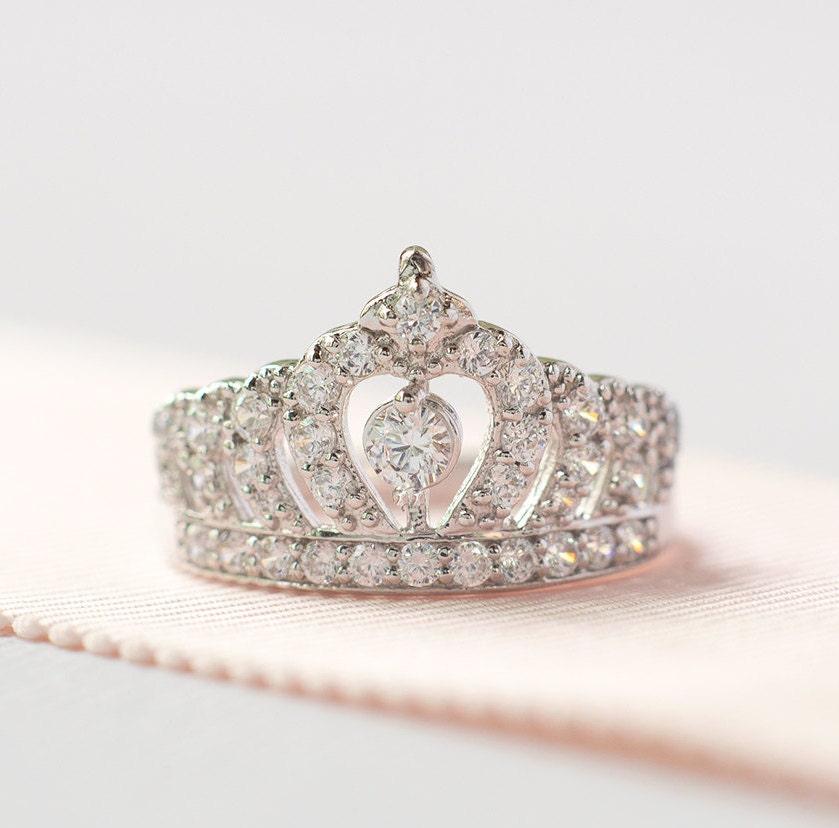 princess crown ring sterling silver tiara ring princess