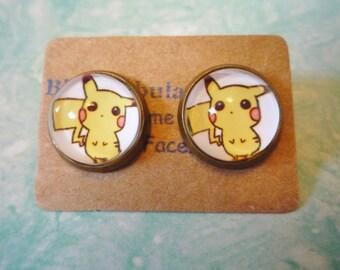 Pikachu earrings - pokemon earrings - pikachu jewelry - pokemon earrings - pokeball earrings - poke ball earrings - pokemon go earrings