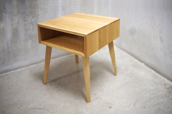 Solid White Oak Side Table / Nightstand With By