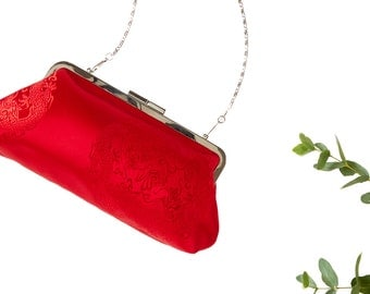 Handmade Silk Clutch Bag, Made In Ireland, Red Clutch, Red Evening Bag, Wedding Clutch, Silk Brocade Clutch