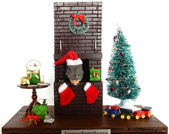 Miniature Santa Christmas display with Tyrannosaurus Rex - whimsical and unique