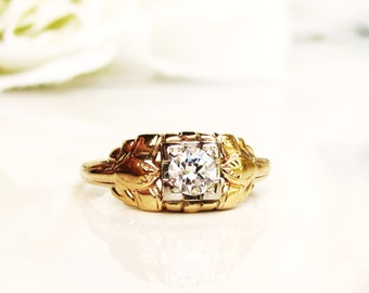 Art Deco Engagement Ring 0.30ct Old Transitional Cut Diamond 14K Two Tone Gold Antique Diamond Wedding Ring Size 5