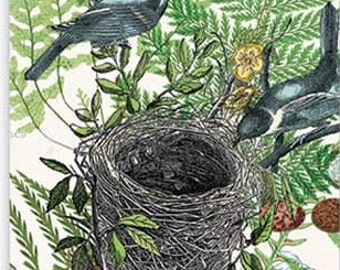 Two (2) Into The Woods, Birds Nest Paper Hostess Napkins for Decoupage and Paper Crafts