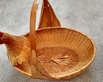 Vintage goose wicker basket