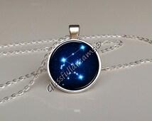 Aquarius star constellation pendant , stars constellation, universe post earrrings, necklace, nature jewelry, glass picture pendant, zodiac