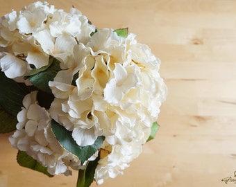 Creamy Hydrangea – silk flower – artificial flower – headpiece – bouquet – wedding – decoration  (FB21-1)