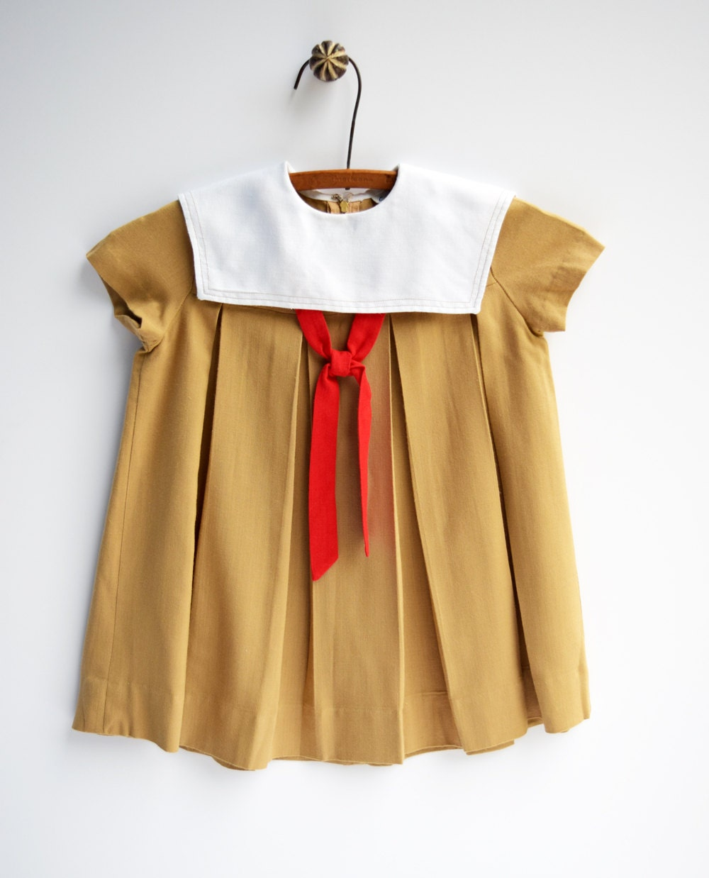 Tan and Red Sailor Toddler Dress Vintage Children's