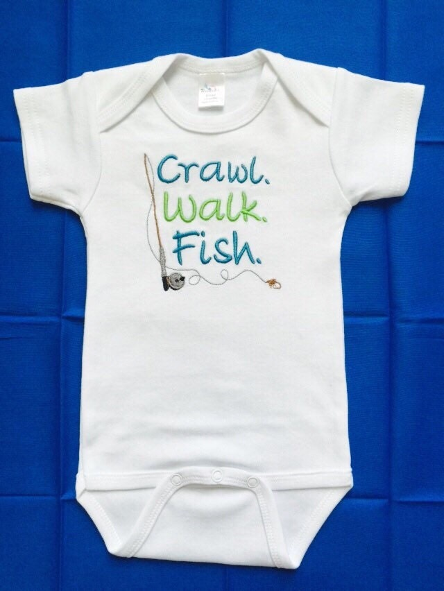 Fishing esie Crawl Walk Fish baby boy embroidered