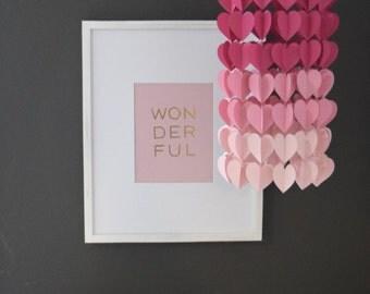 Magenta & Pink Modern Ombre Heart Paper Mobile Chandelier