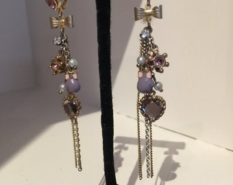 Whimsical Dangle Earrings,,drop is 4 inches from ear wire