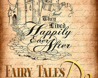 Lived Happily Ever After, HOPE Fairytales DO exist Marriage Wedding Digital Wall Art Downloadable Grunge Happy Love Joy
