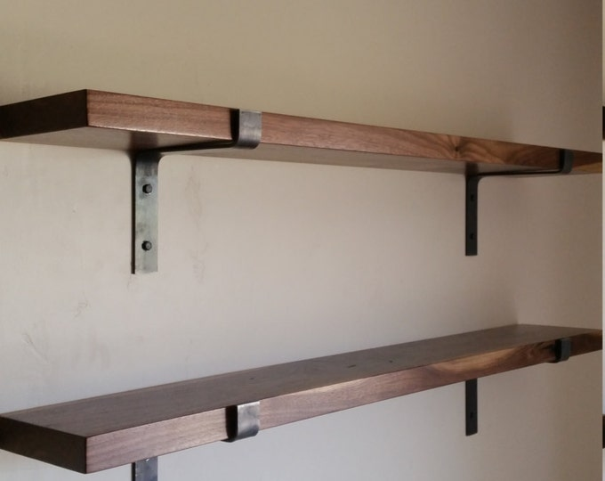 FREE SHIPPING!!! Walnut Shelf Complete DIY Kit+ Modern Industrial Metal Shelf Brackets. 7.5 and 9.5 Inches Deep. Solid Wood Shelves