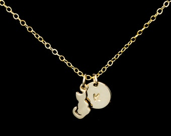 Cat Necklace, Initial Necklace, Personalized Jewelry, Cat Charm, Kitty Necklace, Cat Lady Jewelry, Furbaby Jewelry, Gold Cat Necklace