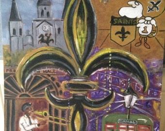 New Orleans Black and Gold Fleur-de-lis art, New Orleans art, Louisiana art, French Quarter, Jazz music, Superdome art, New Orleans Saints