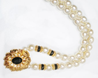 Beaded Pearl Statement Necklace, Vintage Kenneth Jay Lane, Chic Diva Fashion Jewelry, New York Collection for Avon, Gold Tone, Faux Pearls