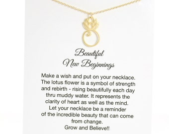 Gold Lotus Necklace on a Card, New Beginnings, Encouragement Gift