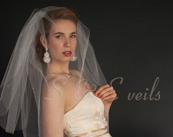 2-Tier FINGERTIP Veil with pearls and crystals, bridal veil, wedding veil, blusher veil, ivory, diamond white, champagne, white color