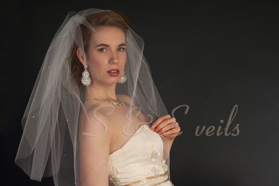 2-Tier FINGERTIP Veil with pearls and crystals | bridal veil, wedding veil, blusher veil, ivory, diamond white, champagne, white color