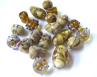 Topaz Amber Lampwork Bead Assortment. Honey Gold Glass Bead Mix. Large Fancy Beads. Teardrops, Rounds, Barrels, Tube Beads - 20 Pieces