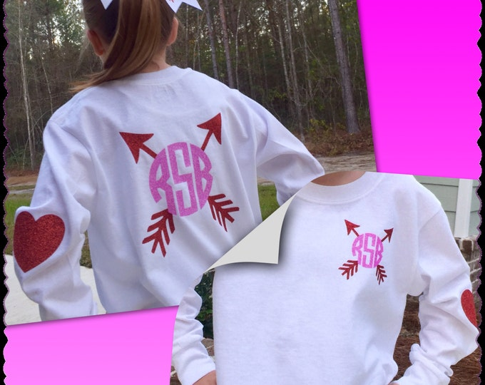 Monogrammed Shirt, Valentine's Day Shirt, Hair Bow, Valentine's Day t shirt, Arrow, Heart elbow patch sleeve