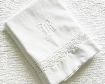 Vintage Cottage Home Snow White Monogrammed Lace Detailed Pillowcases, Set of Two, Olives and Doves