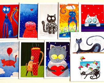 Greeting cards Blank greeting card set Gift cards Artbyasta Birthday card sets of 10 cards Cat christmas cards funny Animal christmas cards