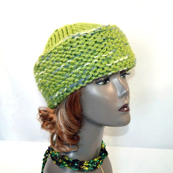 Knitting Pattern Russian Hat : Pistachio Green Russian Style Hat Hand Knit Cossack Hat Wool