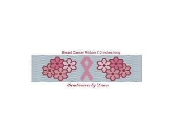 Peyote Bracelet Patterns, Beading Instructions, Breast Cancer Ribbon, Breast Cancer awareness, Beadwork Patterns, Peyote Stitch patterns