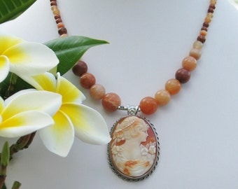 Coral Cameo Vintage Beaded necklace Vintage jewelry