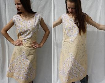 Summer dress Cotton dress Pale yellow dress Floral yellow dress Daisy print dress Maxi dress Sleeveless dress Country summer Size M L
