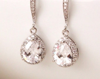 Wedding Jewelry Bridal Earrings Crystal Wedding Earrings Teardrop Cubic Zirconia Earrings Bridesmaid Gift Earrings Bridal Jewelry