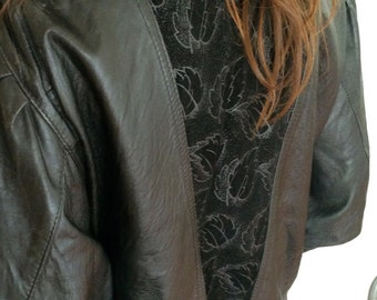 Vintage 1990s Black Leather Jacket with Suede Leaf-Pattern Detailing