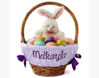 Personalized Easter Basket Liner, Lavender Quatrefoil, Basket not included, Monogrammed Easter basket liner, Custom basket liner with name