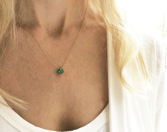 Emerald Necklace, May Birthstone, Gold Emerald Necklace, Simple Birthstone Necklace, 14k Gold Filled, Dainty Necklace