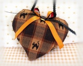 Halloween Heart Door Hanger Heart, Fabric Heart  Primitive Heart Fall Plaid, Cottage Style,Cloth Handmade CharlotteStyle Decorative Folk Art