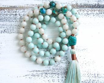 Amazonite Mala Beads 108, Moonstone Mala Necklace, Turquoise, Boho Jewelry, Meditation Beads, Yoga Jewelry, Tassel Necklace