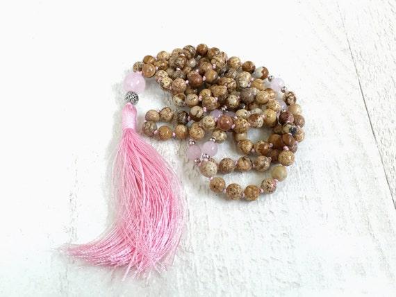 Picture Jasper Mala Beads, Hand Knotted Tassel Mala, 108 Bead Mala Necklace, Long Mala Beads, Yoga Necklace, Gemstone Mala Beads