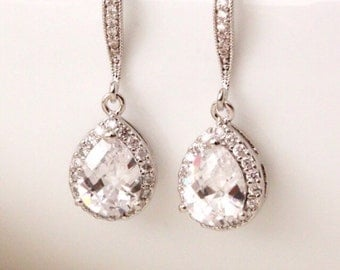 Wedding Jewelry Bridal Earrings Crystal Wedding Earrings Teardrop Cubic Zirconia Earrings Wedding Bridesmaid Gift Earrings