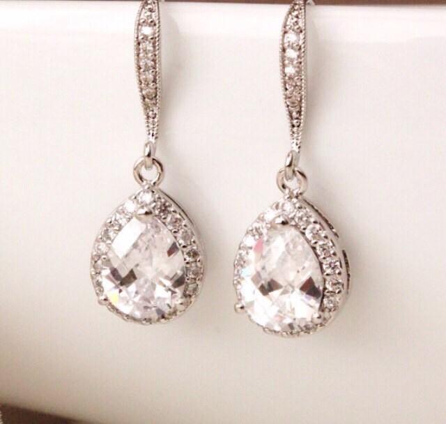 Wedding Jewelry Bridal Earrings Crystal Wedding Earrings Teardrop Cubic Zirconia Earrings Wedding Bridesmaid Gift Earrings Bridal Jewelry