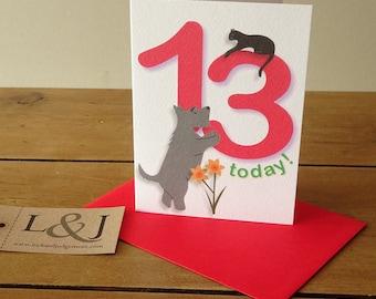 13th Birthday Card, 13 Card, Kids Birthday Card, Thirteenth, Age 13, 13th Birthday, Child Birthday, Children Birthday, 13 Birthday, Thirteen