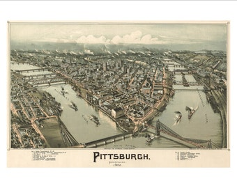 """Pittsburgh Pennsylvania in 1902 Panoramic Bird's Eye View Map by T. M. Fowler & J.B. Moyer 22x16"""" Reproduction"""