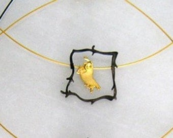 Necklace Sterling Silver Gold Plated Birdy in Frame